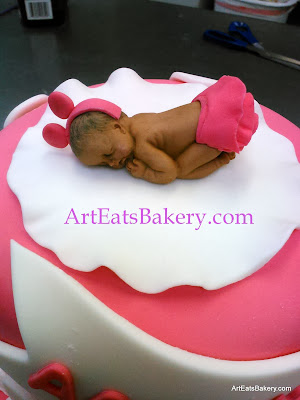 3D baby Minnie Mouse baby girl shower cake topper