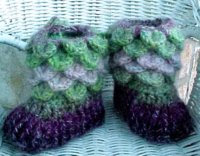 "Merry Feet -  Alligator Stitch Booties for 21"" Doll or Newborn Baby"