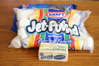photo of a bag of marshmallows and a stick of butter