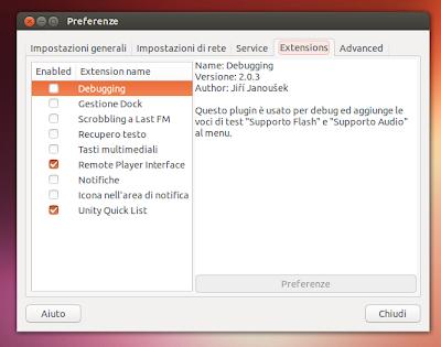 Nuvola Player 2.0.3 - estensioni