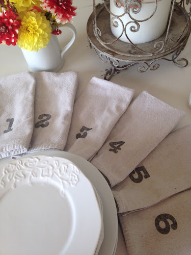 Drop cloth napkins with numbers, flower fold napkin tutorial, the stylesisters