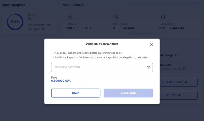 """Screengrab showing the """"undelegate"""" option in the new version of Yoroi"""