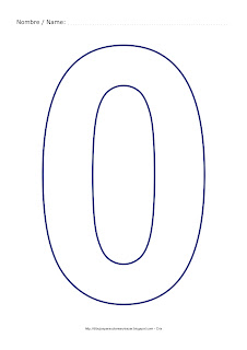 Dibujo para colorear y pintar el número cero en color azul