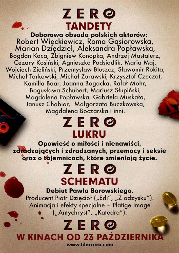 Ulotka filmu 'Zero (tył)'
