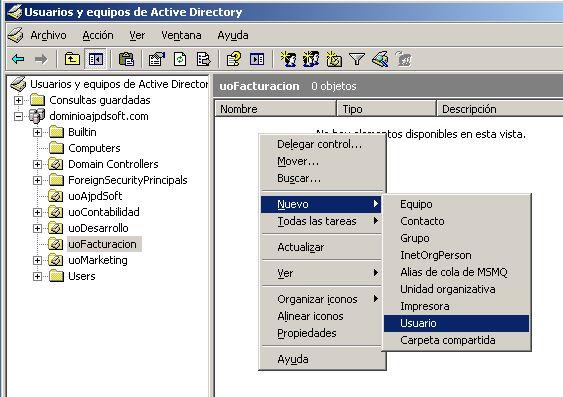 Crear los usuarios de los equipos clientes en el servidor Windows Server 2003