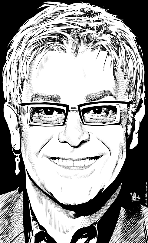 Ink drawing of Elton John, using Krita 2.4.
