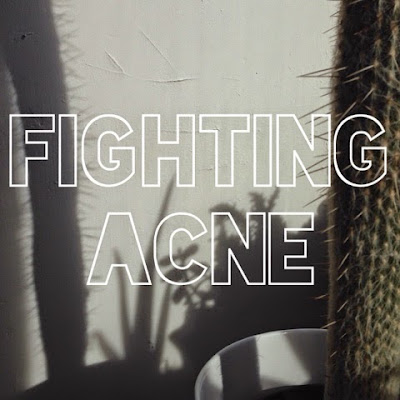 A picture of a household cactus with text overlaid reading Fighting Acne