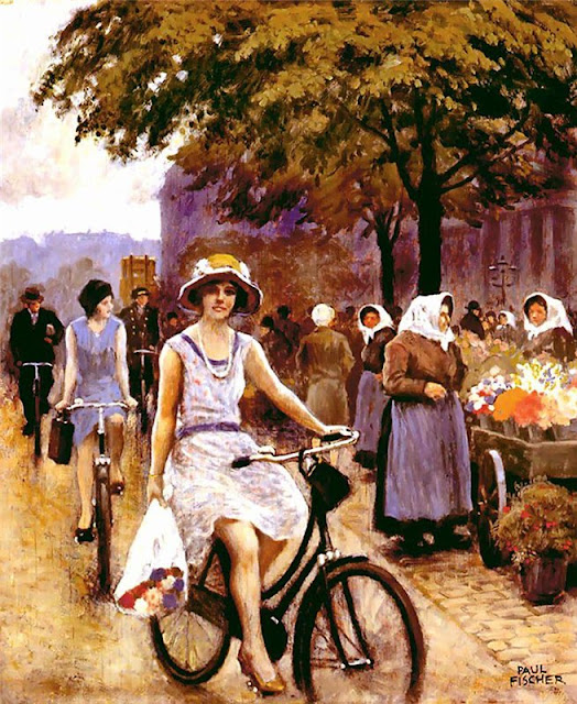 Henri Le Sidaner - Bicycling Girl.