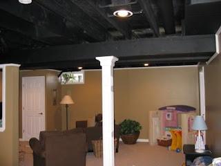 Aimsleys home my basement for Black ceiling basement ideas
