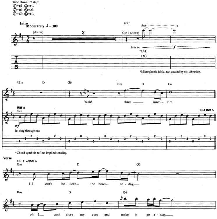 U2 – Sunday Bloody Sunday guitar tabs