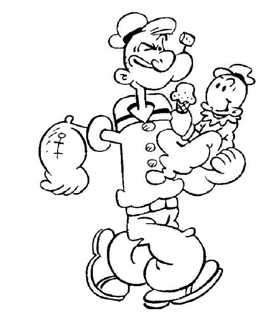 Popeye Cartoon Characters Coloring Pages to Print title=