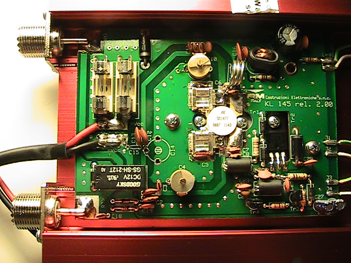 The internal                       view of the RM Italy KL-145 linear amplifier                       showing clean, solid construction and excellent                       workmanship.