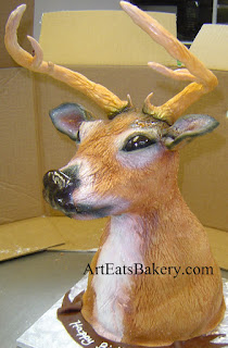 3D custom sculpted airbrushed fondant deer head men's Birthday cake 2