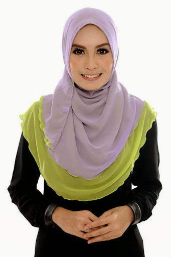 ADC III 009%2520Light%2520Purple%2520%252B%2520Apple%2520Green SHAWL ADREENA TUDUNG SHAWL HALFMOON DOUBLE LAYER YANG LABUH