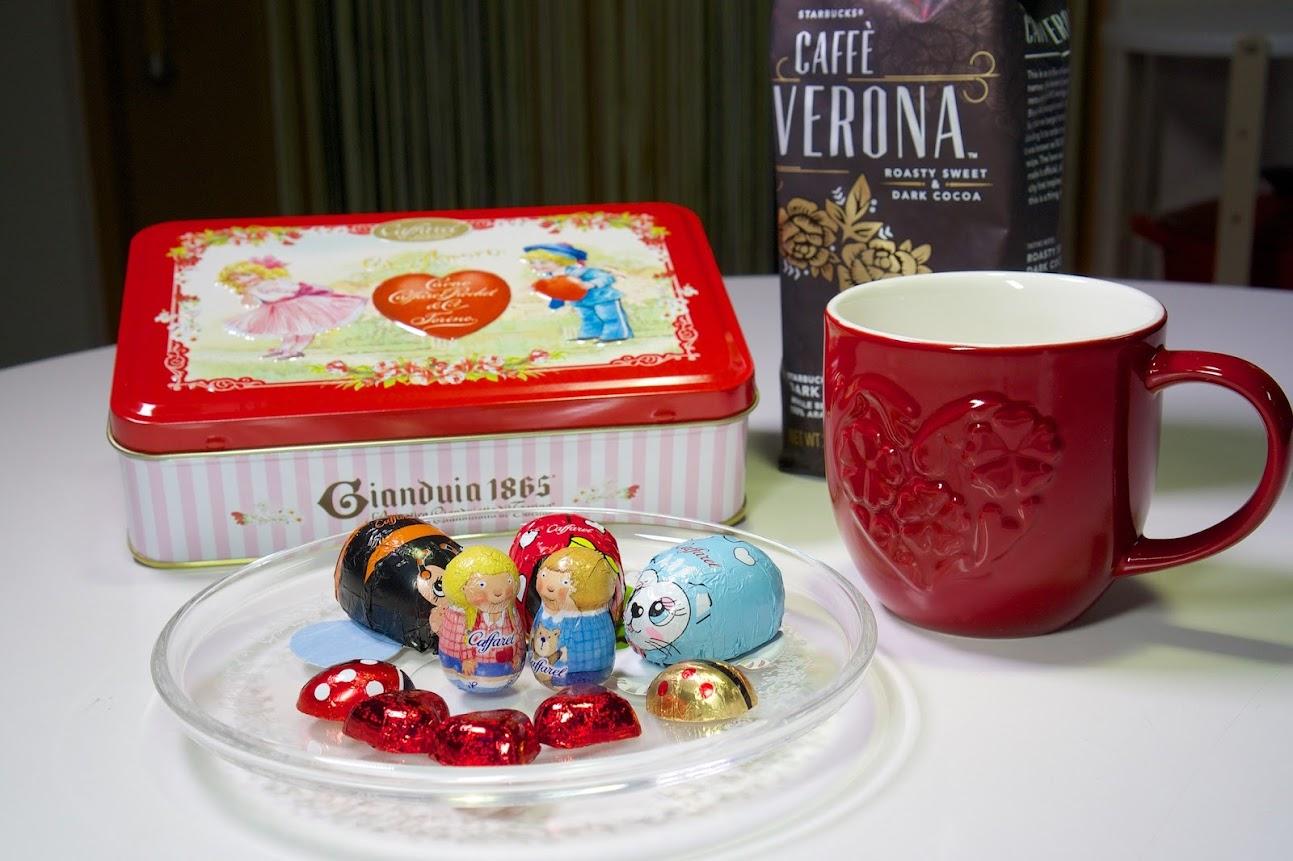 スタバのコーヒー豆「カフェベロナ」&フラワーハートマグと一緒に ♬