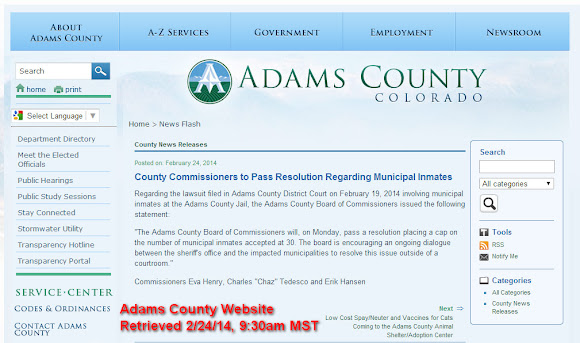 February 24, 2014 - The county website announces the commissioners will pass a resolution before any public discussion or even a vote of the board.
