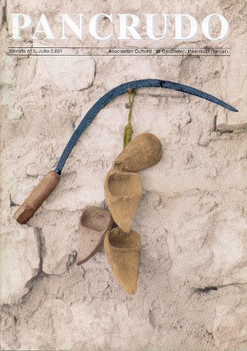 Portada Revista Pancrudo nº5 (2001). Útiles de siega antiguos (hoz y zoquetas), de Miguel Tolosa Sancho