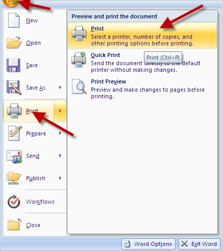 Printing from MS Word