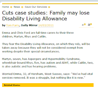 What may happen if Disability Living Allowance is cut.  Emma's story.