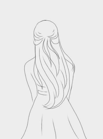 Рисунок волосы девушка сзади