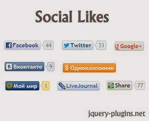 Customizable Social Like Button and Counter Plugin - social likes