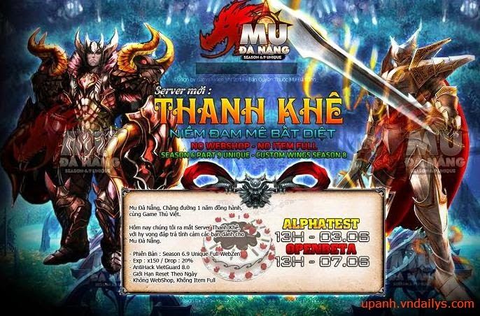 MUDANANG.VN -Alphatest 03/06/2014.Open 13h Ngày 07/06/2014 - Reset Free,No WebShop,