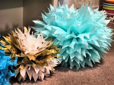 Aerial image of completed pompoms