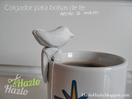 Colgador de taza para bolsas de té, hecho a mano.