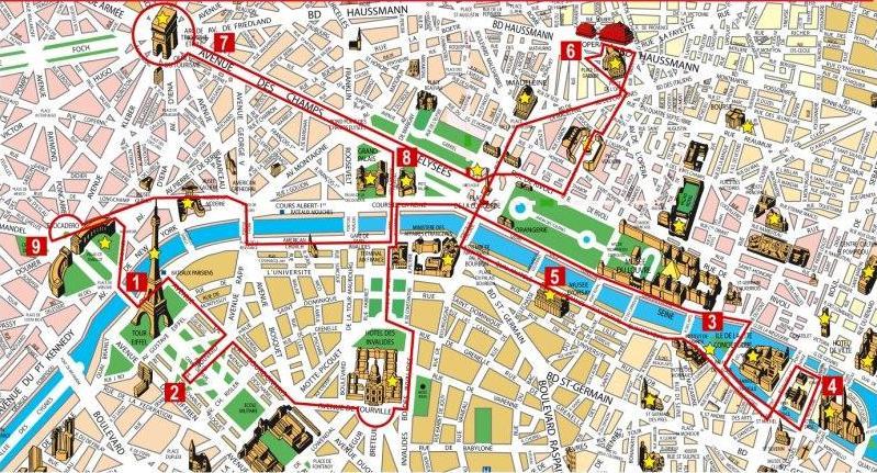 Hop On Off Tour Paris Map