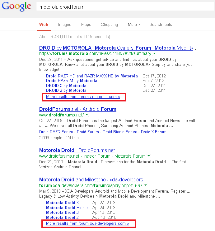 where did the see more results from this site link go google