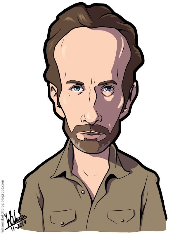 Cartoon caricature of Andrew Lincoln as Rick Grimes from The Walking Dead.