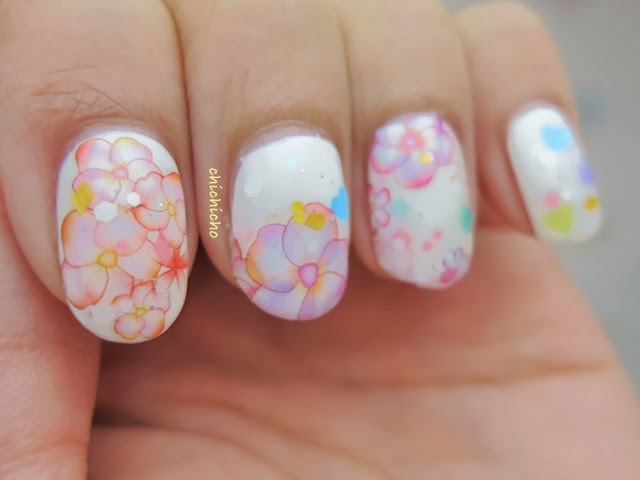 Sweet Floral Valentine's Nail Art with Water Color Decal