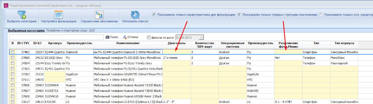 Редактирование значений характеристик - сводная таблица