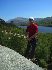Abseiling with Snowdon in the background