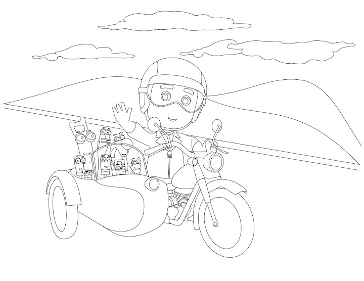 Handy Manny Riding a Motorcycle Coloring Page