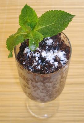 Granité de chocolat à la menthe et au piment d'Espelette