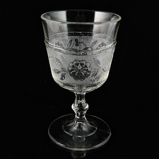EAPG Dahlia or Stippled Dahlia Goblet 1880s