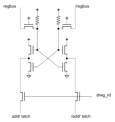 Schematic of the 8085's amplifier to read one bit of the register file into the address latch.