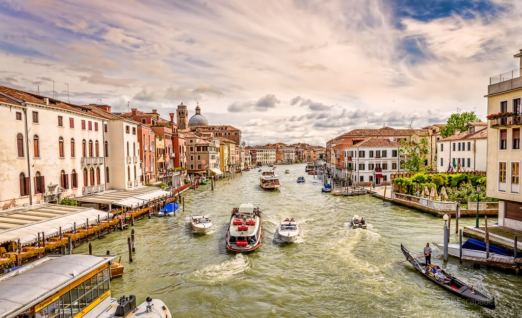 View of the Grand Canal from one of the bridges next to the Venezia train station