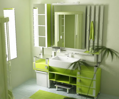 Beautiful Bathroom Interior Design Green Color