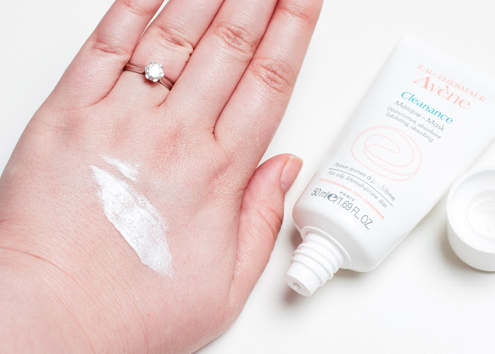 Avene Cleanance Mask product swatched on back of hand
