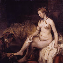 rembrandt, bathsheba, bath, 1654, servant, feet, naked, women, kindness