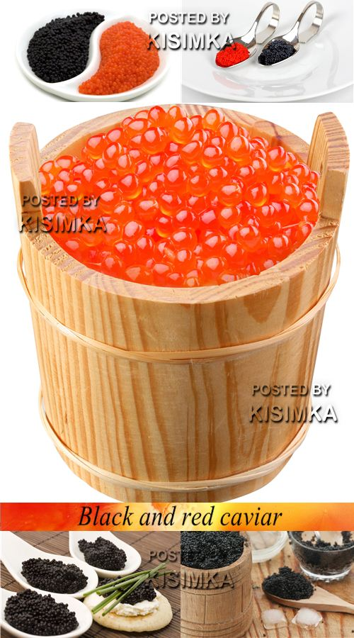 Stock Photo: Black and red caviar