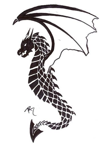 black tribal draagon tattoo