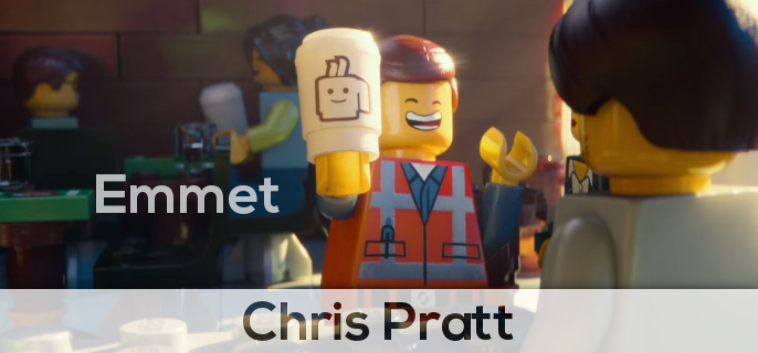 Chris Prat is Emmet in the lego movie