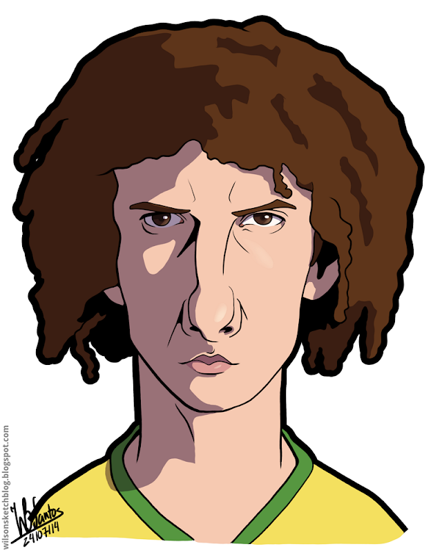 Cartoon caricature of David Luiz.