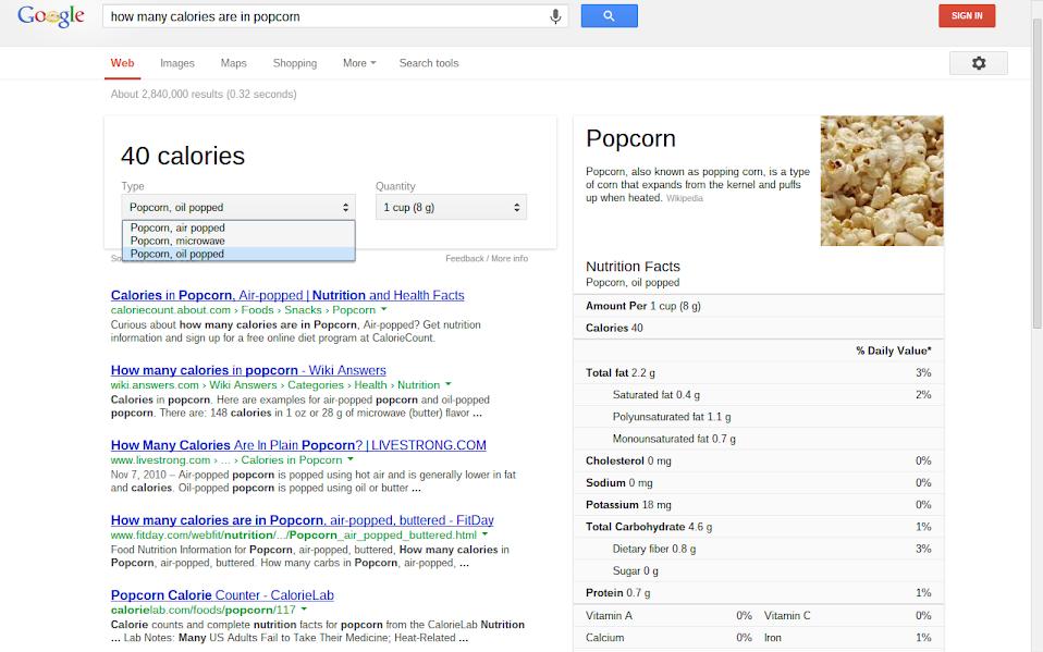 Google Search Calories