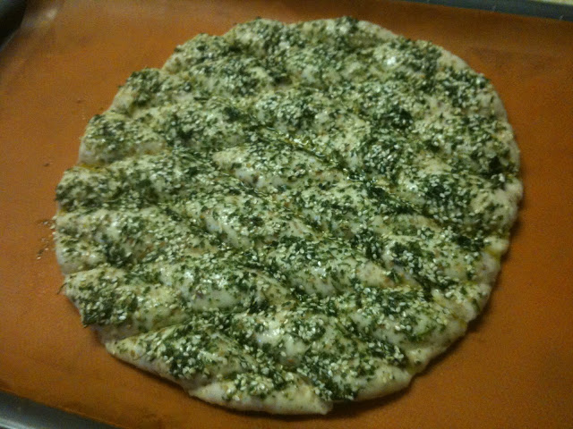 EVOO, parsley and thyme topping on  Middle Eastern flat bread