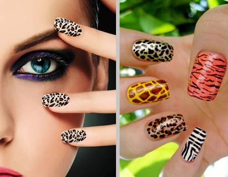 unhas de pele de animais: oncinha, zebrinha, vaquinha, girafa...