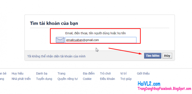 nhập email để khôi phục mật khẩu facebook